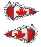 X-Large Long Pair Ripped Torn Metal Design With Canada Canadian Flag Motif External Vinyl Car Sticker 300x170mm each